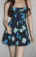 NWT! HOLLISTER by Abercrombie Womens Floral Spring Sun Dress Navy XS