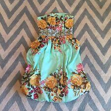 S Bohemian Women's Floral Garden Strapless Summer Sundress Party Dress EUC Small