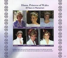 Liberia 2017 MNH Princess Diana 20th Memorial Anniv 6v M/S Royalty Stamps