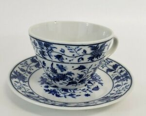 Inarco Japan Blue & White Floral Butterfly Teacup and Saucer Set