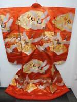 TALL & LARGE! BRIDAL KYOTO NISHIJIN Orange Silk Japanese UCHIKAKE w/Cranes E630