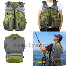 Outdoor Men Fishing Vest Jacket Hunting Sail Multi Pocket Mesh Safety Gear