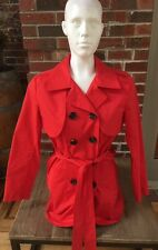 CAbi Poppy Red Belted Convertible Trench Coat Jacket Sz 4 #334 Double Breasted