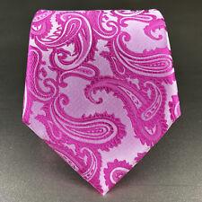 New Men S Formal Microfiber Self Tie Neck Paisley Wedding Party Fuchsia Pink