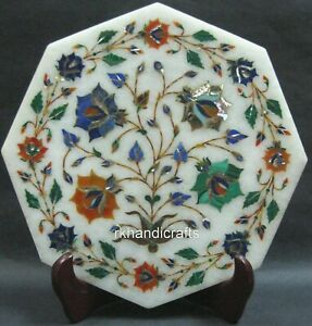 10 Inches Marble Decorative Plate Inlay Kettle Stand with Cottage Art from India