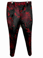 RSVP Talbots Womens Pants Size 6P Red Black Floral Very Nice