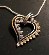 .50 Cttw Diamond Heart Pendant - Gorgeous! Solid 14K White & Yellow Gold Genuine