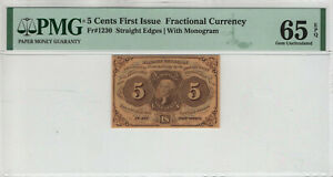 5 CENT FIRST ISSUE FRACTIONAL POSTAL CURRENCY FR.1230 PMG GEM UNC 65 EPQ (028)