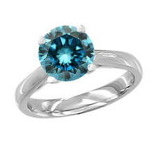 Wedding Ring 0.15 Ct Blue Si2 Round Diamond Solitaire 14K White Gold ASAAR DEAL