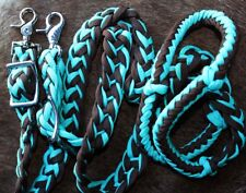 Horse Knotted Braided Roping Western Barrel Reins Turquoise Brown Rein 60764