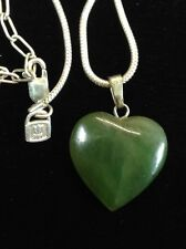 jade heart pendant .999 USA FINE Silver Rope Chain Necklace