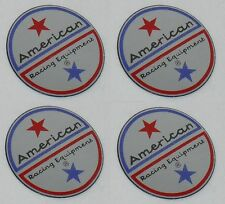 "4 SET AMERICAN RACING VINTAGE WHEEL RIM CENTER CAP STICKER DECAL 1.5"" DIA 36MM"