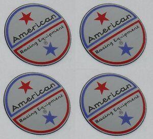 "4 SET AMERICAN RACING VINTAGE WHEEL RIM CENTER CAP STICKER LOGO 1.5"" DIA 36MM"