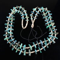 Vintage Navajo tribal Two Strand authentic Turquoise bead shell heishi necklace