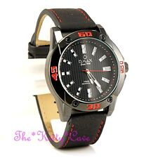 OMAX Waterproof Chunky Black & Red Sporty Swiss Seiko Movt Leather Watch OAS183