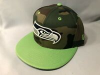 SEATTLE SEAHAWKS CAMO AND NEON LIME NEW ERA 59FIFTY FITTED BASEBALL NFL CAP HAT