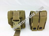 NEW USMC  Coyote Brown FSBL Frag Grenade Pouch X2 Military Issued Ammo Bag