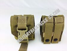 NEW USMC Molle Coyote Brown FSBL Frag Grenade Pouch X2 Military Issued Ammo Bag