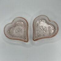 Vintage Pink Depression Small Glass Heart Shaped Trinket Dishes Set of Two (2)