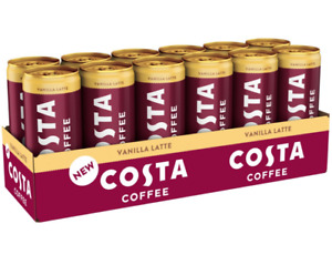 COSTA COFFEE Vanilla Latte Iced Coffee 250ml x 12 Cans New with Free Delivery