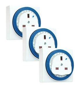 Sockit 24 Hour Segment Timer Switch – 3 Pack – Compact Plug in Energy Saver
