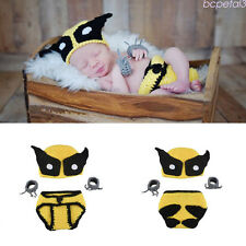 Newborn Baby Crochet Knit Super Hero Wolverine Costume Photography Prop Outfits