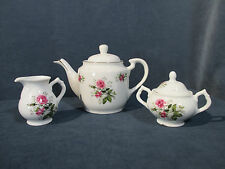 Lefton Child Doll Tea Set Teapot Creamer Sugar Pink Roses Vtg Porcelain Set of 3