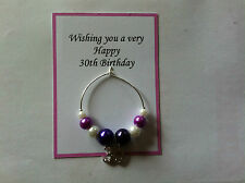 Wine Glass Charm 30th 50th, 50th, 60th, Birthdays Gift, present