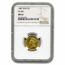 1887 $3 Gold Princess Double Die Obverse Ms-61 Ngc (Vp-001)