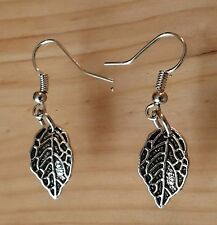 Earrings with Tibetan Silver Charms Stainless Steel Hook Leaf Dangle