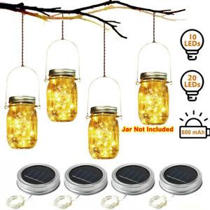 Mason Jar Lid Fairy String Solar Powered LED Lights Lamp Garden Party Decor