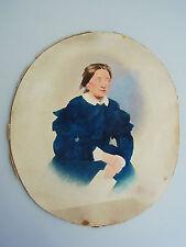 Mano koloriertes foto 1860er anni: la SIGNORA IN ABITO BLU/26,3 x 21,5 cm