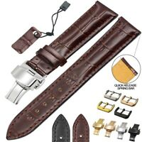 Universal Croco Genuine Leather Watch Band Quick Release Wrist Strap 18mm - 24mm