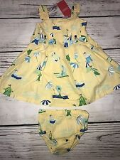 NEW Gymboree Infant Girls Jumper Skirt Undies 3-6Mo Beach Yellow Aloha Wahine