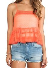 """Free People Lace Trim Peplum Camisole, Color """"Red Star"""" Size Large NWT"""
