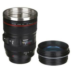 Camera Lens Tea Cup Coffee Mug Stainless Steel - Black