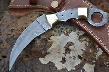 "HUNTEX Handmade Damascus 9"" Long Full Tang Karambit Blank Blade Knife & Sheath"