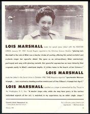 1959 Lois Marshall photo opera recital tour booking trade print ad
