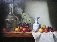 VINTAGE ORIGINAL FRUIT, GLASS BOTTLE AND BLUE WHITE VASE OIL PAINTING STILL LIFE