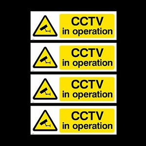 CCTV Sign, Sticker, Metal, Plastic - Pack of 4 Security, Camera, Warning (MISC2)