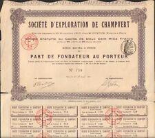 RARE => Exploitation de CHAMPVERT, mines d'or (CREUSE 23)  (R)