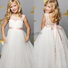 White Kids Flower Girls Princess Pageant Wedding Bridesmaid Birthday Party Dress