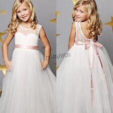 White Kids Flower Girls Princess Pageant Wedding Bridesmaid Birthday Party Dress