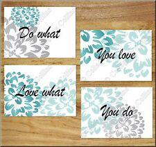 Teal Aqua Gray Wall Art Print Decor Dahlia Floral Quote Love What You Do INSPIRE