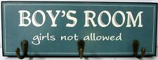 "TIMBER WALL ART ""BOY'S ROOM GIRLS NOT ALLOWED"" SIGN WITH THREE HANGING HOOKS! BN"