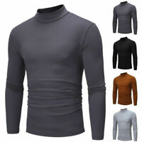 Sleeve Plus Shirt Tops Size Men's Long Slim Casual Fit Turtle Neck Solid