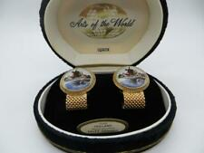 Swank Holland Delft Ceramic Windmill Mesh Wrap Around Cufflinks Gold Tone