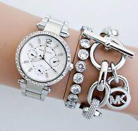 Original Michael Kors Uhr Damenuhr MK5615 Mini Parker Farbe:Silber Kristall NEU