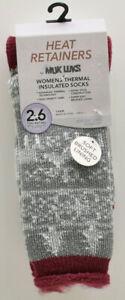 Muk Luks Womens's Thermal Insulated Socks Size 6-11 Grey Ivory Fair Isle New NWT