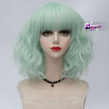 Lolita 35CM Medium Curly Lithg Mint Green Women Cosplay Harajuku Wig With Bangs